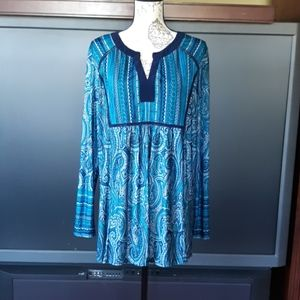 PerSeption blue paisley long sleeved 1X blouse